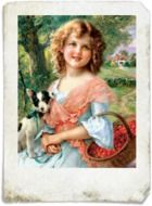 vintage portrait of a girl with a dog