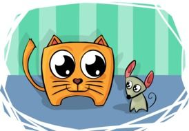Cat and Mouse cartoon drawing
