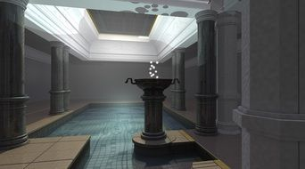 interior with columns in 3d graphics