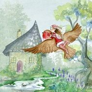 Girl flying on bird, Fairy tale illustration