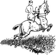 black and white picture of a horse rider