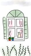 a cozy window with a cat drawing