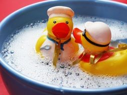 Toy ducks in the bath