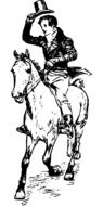 black-and-white image of a rider on a horse