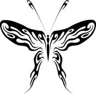 clipart of the black and white butterfly