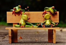 relaxed cute frogs on the bench