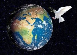 dove with the branch and the planet drawing