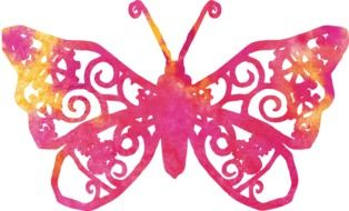 painted pink butterfly with delicate wings