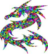 dragon silhouette with colorful triangles