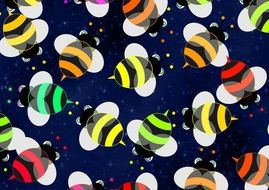 colored bees on the wallpaper