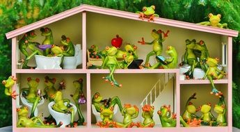 many different figures of frogs in a dollhouse