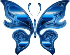 painted chrome blue butterfly