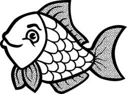 black and white graphic image of funny fish