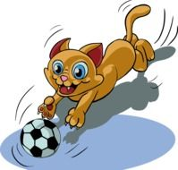 Funny Cat Play Ball drawing