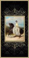 Equestrian Woman, Victorian painting in gilded frame