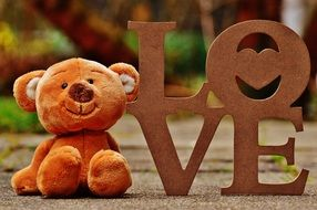 "soft teddy bear near the word ""love"""