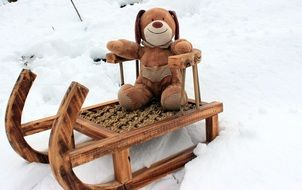teddy bear in sled