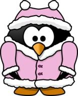 penguin in a pink jacket as a graphic image