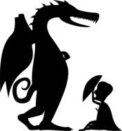 silhouettes of a dragon and knight