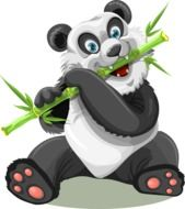 clipart of the Panda is eating bamboo