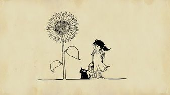 girl with a cat by a large sunflower drawing