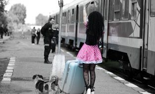 Girl Train Station Baggage Dog