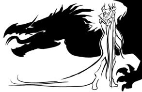 graphic image of an evil queen with a black dragon