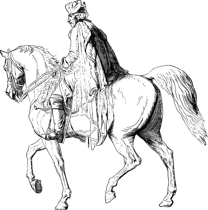 drawing of a rider on the horse