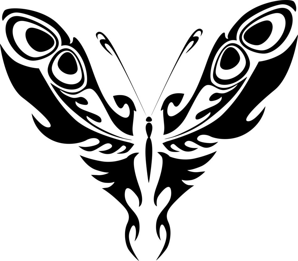 abstract black and white drawing of a butterfly