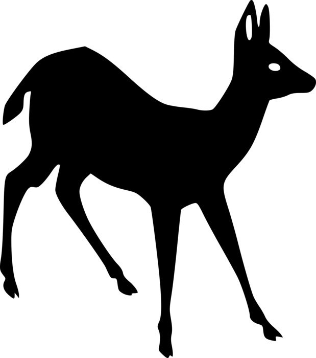 black silhouette of a young deer
