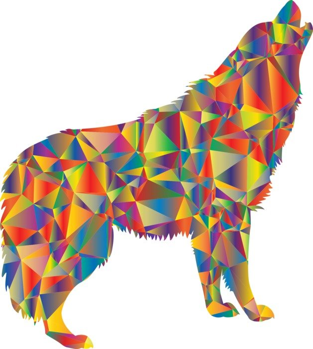 colorful silhouette of a howling wolf