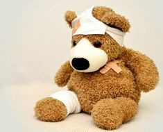 teddy bear with a wound