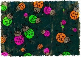 multicolored ladybugs on the wallpaper