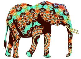 silhouette of an elephant in oriental pattern