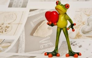 frog with a heart for valentine's day