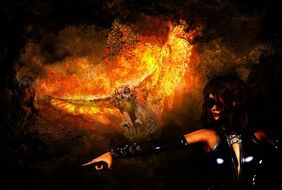 Fire Owl and dark Woman, Fantasy collage