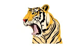 Tiger Roaring colorful drawing