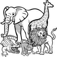 black and white drawing of african animals