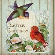 Vintage Easter Greeting Card with two birds