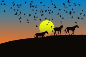 graphic image of dark silhouettes of birds and horses at sunset