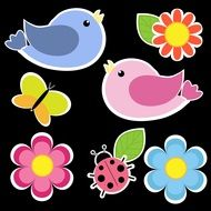 bright picture with birds and flowers