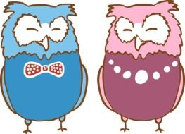 Two painted colored owls