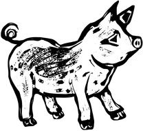black and white drawing of a farm pig