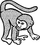 black and white drawing of a monkey