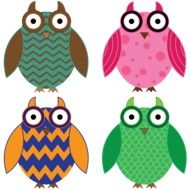drawn colorful cartoon owls