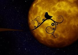 silhouette of the bird on the background of the yellow moon
