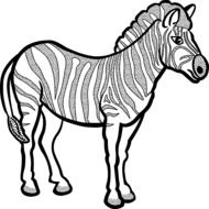 graphic image of a zebra in black and white