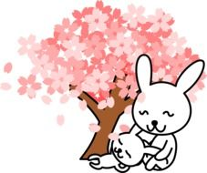 two cartoon Rabbits beneath blooming tree