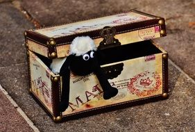 soft toy sheep in vintage box