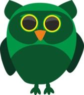 drawing of a green owl